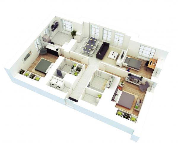 Hình ảnh căn hộ 3 phòng ngủ có phòng tắm tích hợp khu giặt phơi