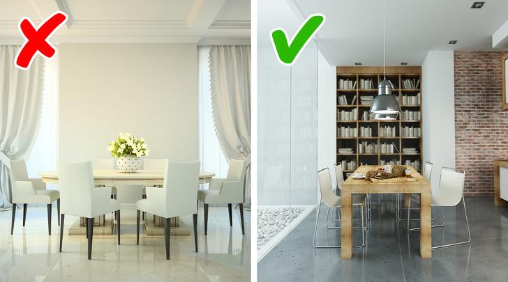 Hình ảnh phòng ăn trước và sau khi chưa có giá sách