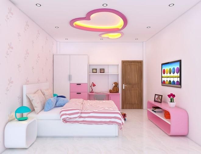 Hình ảnh toàn cảnh phòng ngủ bé gái tông màu hồng trắng