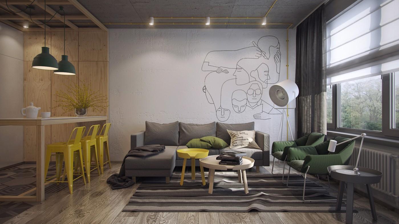 Hình ảnh phòng khách và bếp ăn kết nối bởi các tông màu vàng, xanh, xám