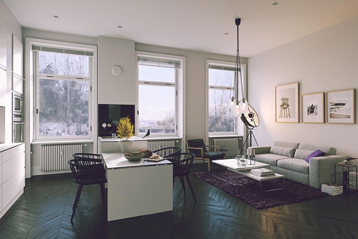 Hình ảnh phòng ăn kết hơp phòng khách với sàn gỗ xương cá màu tối, cửa sổ kính lớn