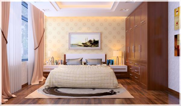 Hình ảnh một góc phòng ngủ VIP với giường nệm êm ái, rèm cửa màu hồng hai lớp, tranh tường, tủ đầu giường