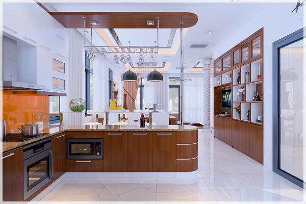 Hình ảnh bếp nấu hiện đại với tủ bếp hình chữ L bo tròn mềm mại
