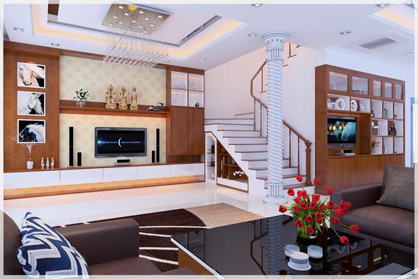 Hình ảnh một góc phòng khách với sofa, bàn trà kính, tủ kệ tivi bằng gỗ màu nâu ấm áp