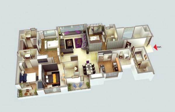 Hình ảnh 3D Mẫu thiết kế nội thất căn hộ 4 phòng ngủ