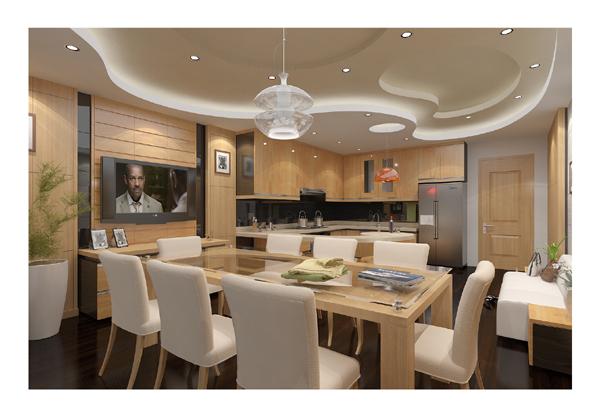 Hình ảnh nội thất phòng bếp + ăn - góc 1