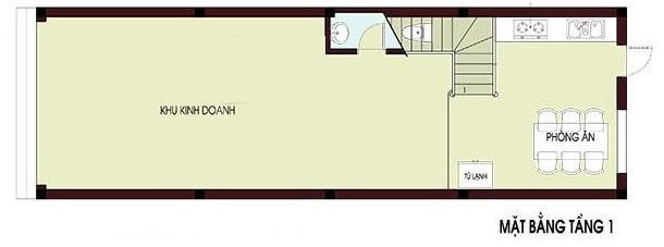 Hình ảnh bản vẽ thiết kế mặt bằng tầng 1 nhà ống