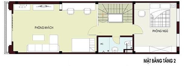 Hình ảnh bản vẽ thiết kế mặt bằng tầng 2 nhà ống