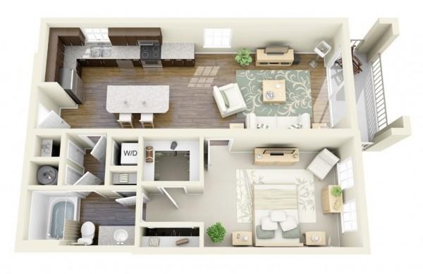 Hình ảnh thiết kế nội thất căn hộ 1 phòng ngủ đẹp với ban công ngập tràn nắng gió