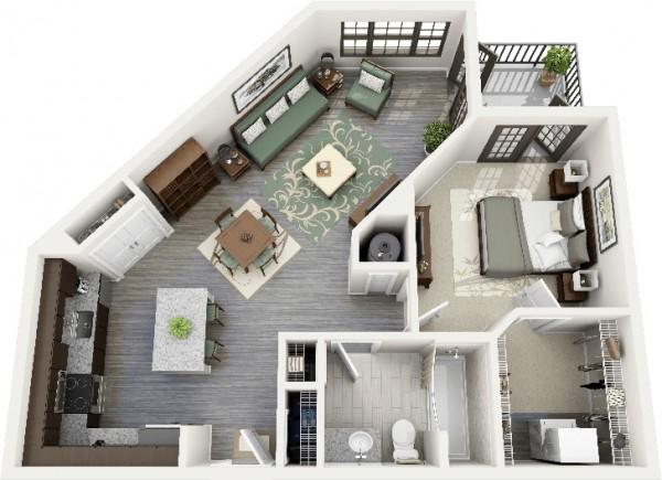 Hình ảnh phối cảnh 3D mẫu thiết kế nội thất căn hộ 1 phòng ngủ với hình dáng đặc biệt