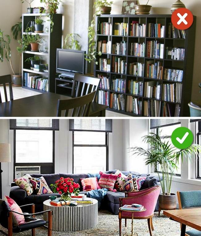 Hình ảnh minh họa cho việc sử dụng cây xanh trong phòng khách