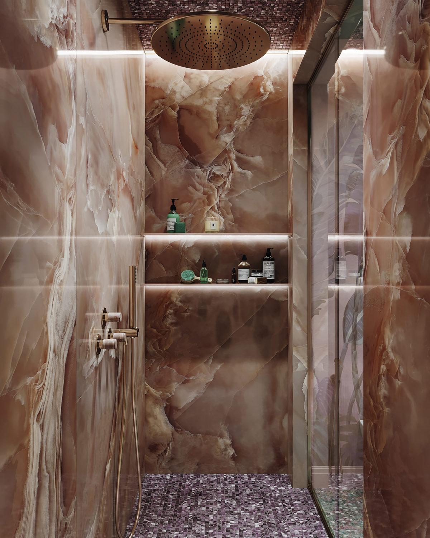 Hình ảnh toàn bộ tường buồng tắm đứng được ốp đá granit màu caramel ấm áp.