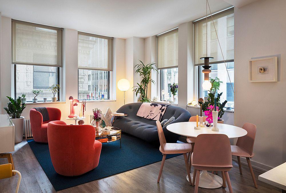 hình ảnh phòng khách và phòng ăn rực rỡ màu sắc trong căn hộ phong cách chiết trung đương đại