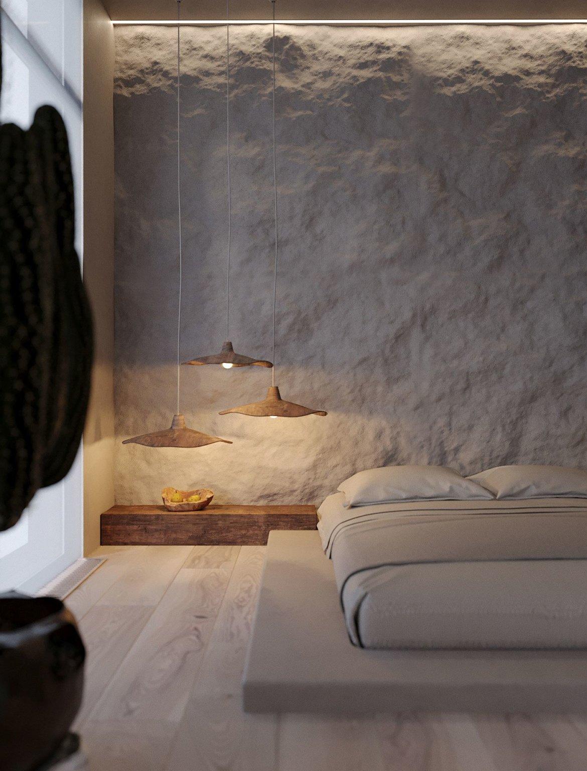 hình ảnh Một góc phòng ngủ tông màu trung tính với bộ đèn thả màu nâu đất, kệ gỗ, tường ốp đất sét