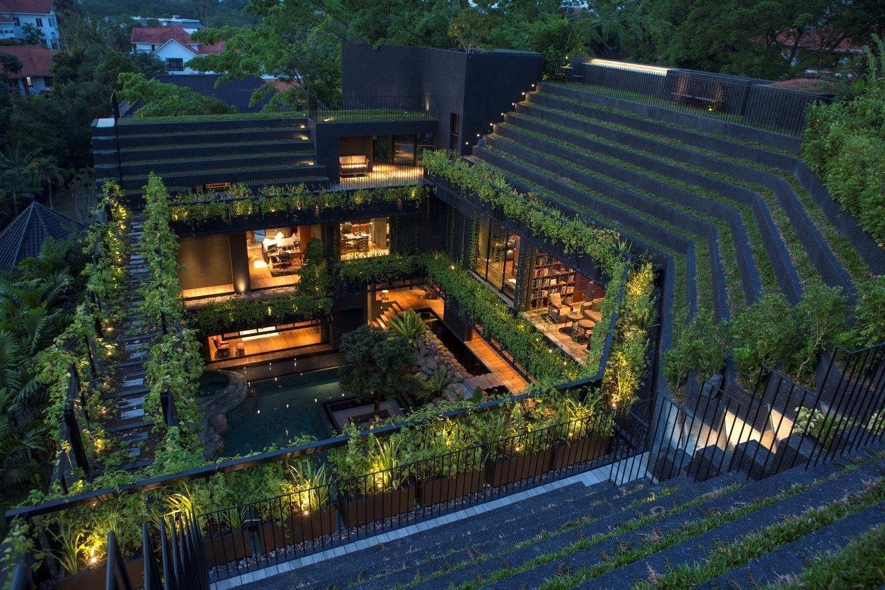 hình ảnh toàn cảnh ngôi nhà vườn ở Singapore nhìn từ trên cao