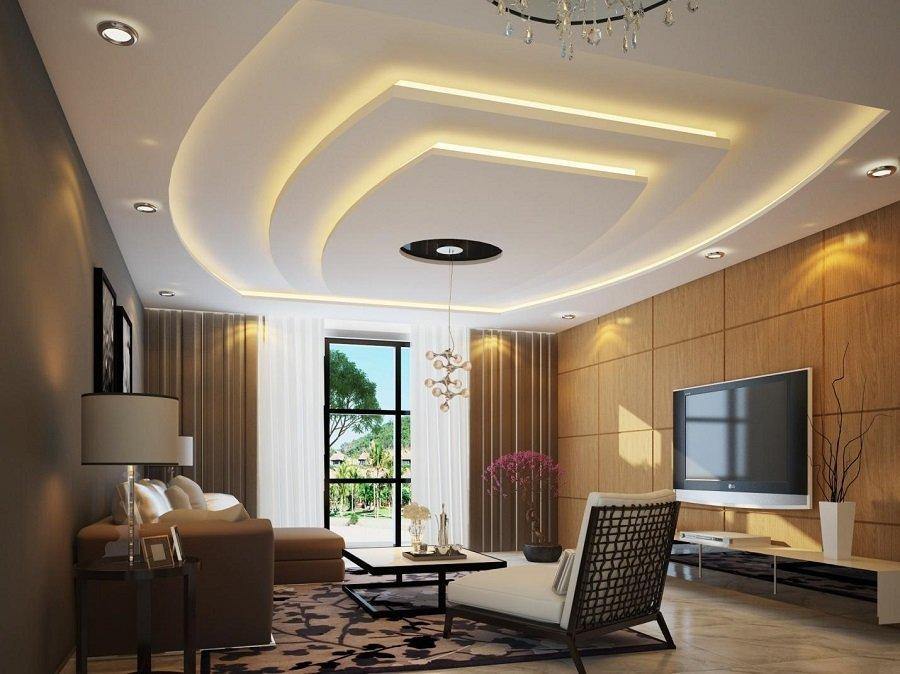 Hình ảnh phòng khách sử dụng trần thạch cao giật cấp bắt mắt.
