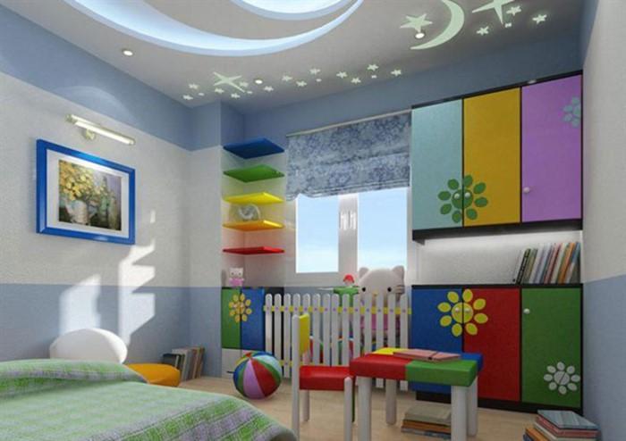 hình ảnh trần thạch cao giật cấp trong phòng ngủ của trẻ với hình dán trăng sao phản quang