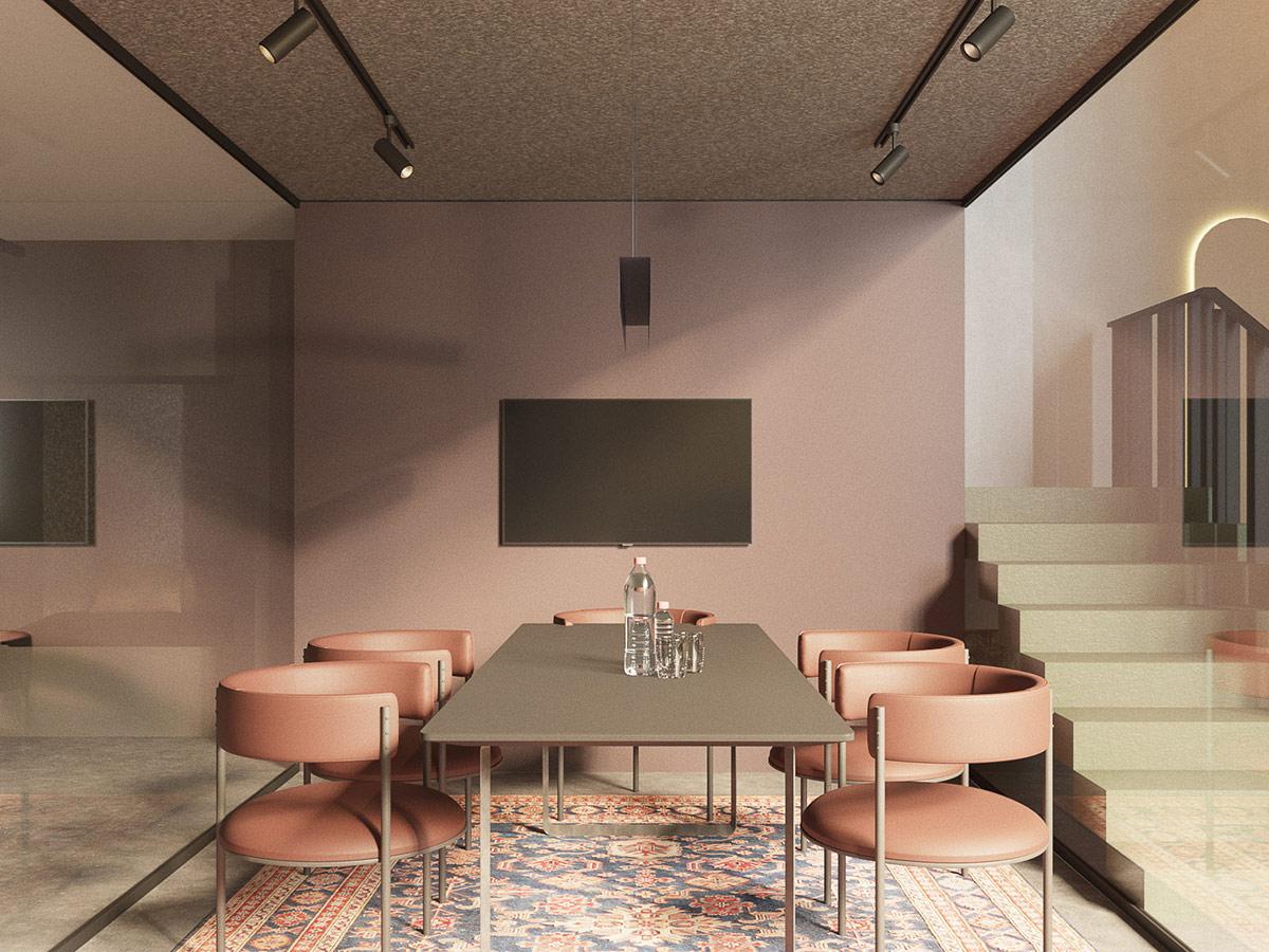 hình ảnh phòng họp được bao bọc bởi tường kính trong suốt, bàn chữ nhật, ghế hồng, thảm thổ cẩm