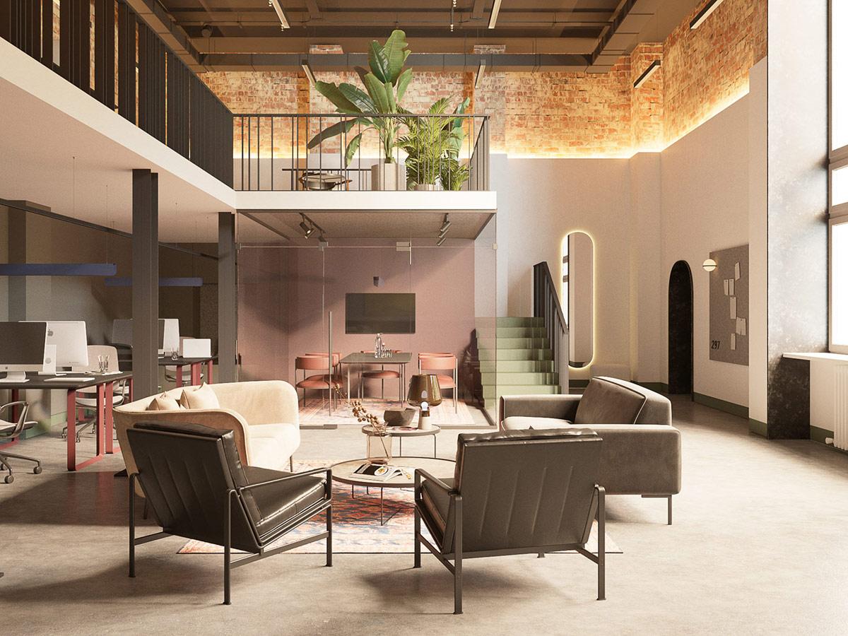 Hình ảnh phòng khách văn phòng với bàn trà tròn trung tâm, xung quanh là ghế sofa trắng, ghế bành bọc da màu xám đậm