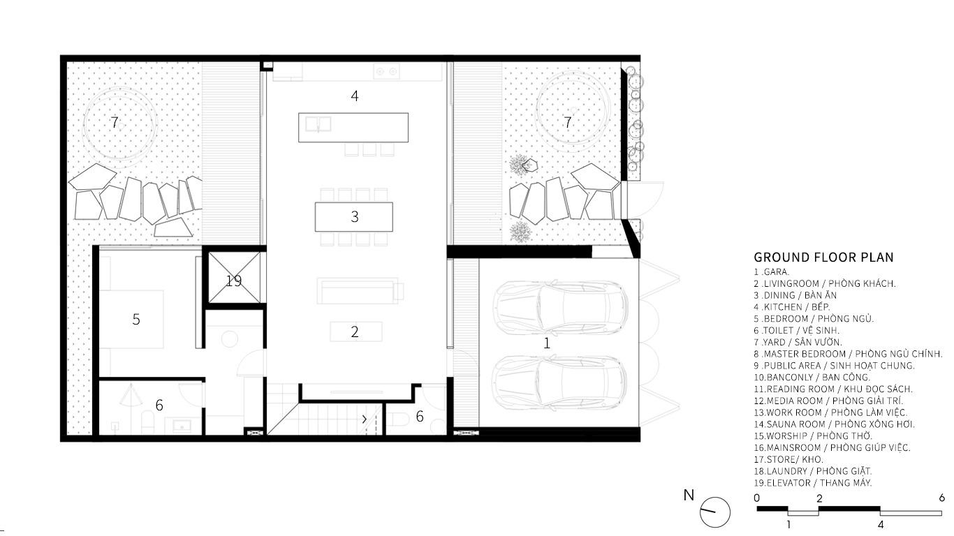 hình ảnh bản vẽ thiết kế mặt bằng tầng trệt biệt thự