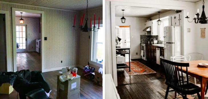 hình ảnh ngôi nhà xây từ thế kỷ XIX trước và sau khi được cải tạo