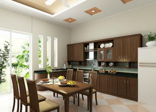 hình ảnh phòng bếp ăn hiện đại với tủ bếp và bàn ăn bằng gỗ, có cửa sổ và cửa kính mở ra sân vườn