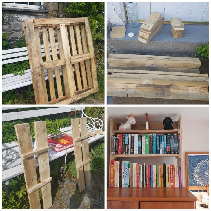 hình ảnh tủ sách làm từ gỗ pallet tái chế