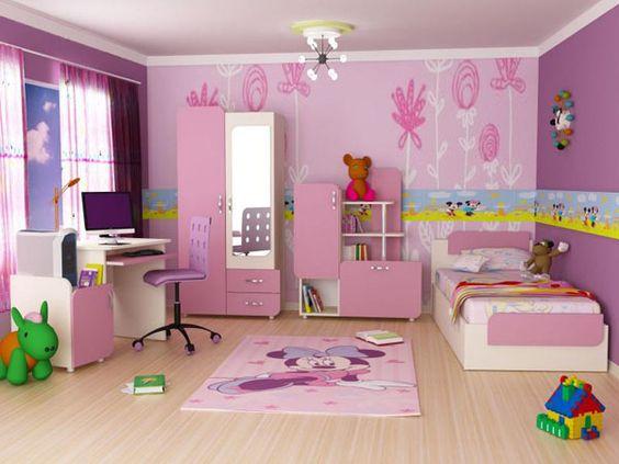 hình ảnh phòng ngủ, góc học tập bé gái màu hồng chủ đạo
