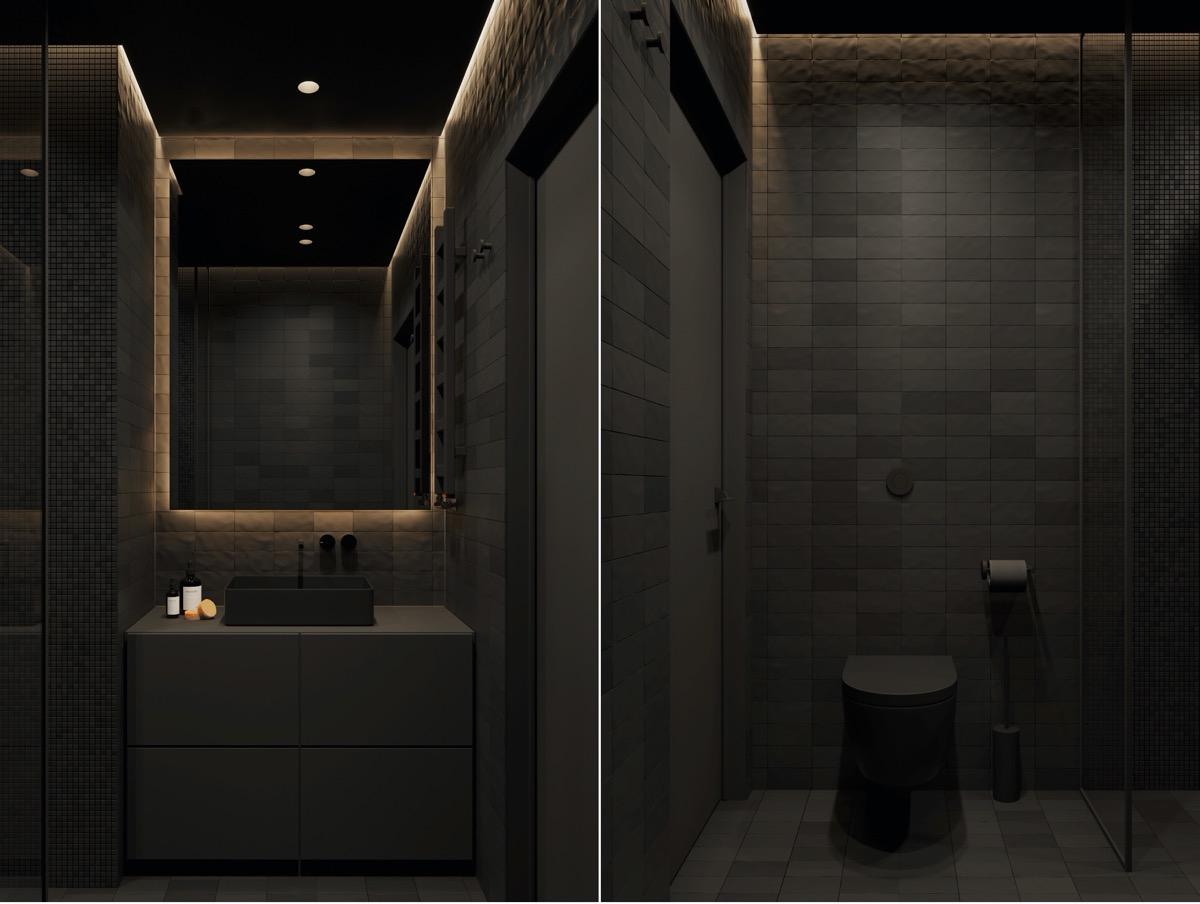 hình ảnh phòng tắm sử dụng tông màu đen ấn tượng, bí ẩn