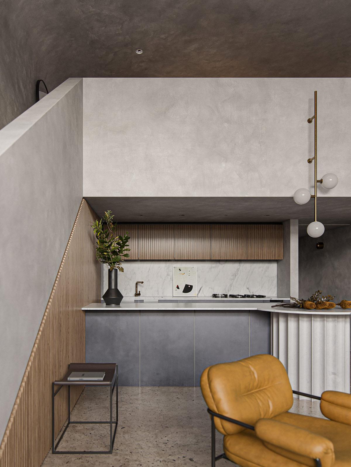 hình ảnh toàn cảnh phòng bếp nhỏ gọn nằm dưới tầng lửng
