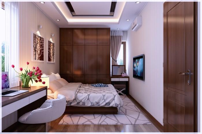 hình ảnh phòng ngủ master đầy đủ tiện nghi hiện đại, bàn làm việc và bàn trang điểm bố trí ở cạnh hai cửa sổ, tủ gỗ cao kịch trần, tranh tường đầu giường