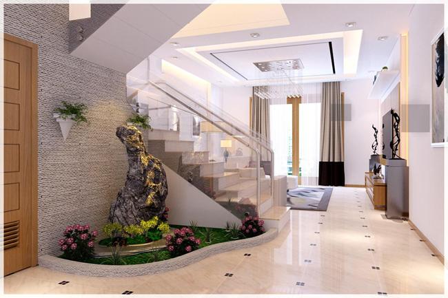 hình ảnh cận cảnh tiểu cảnh xanh mát nơi chân cầu thang bộ nhà lô phố