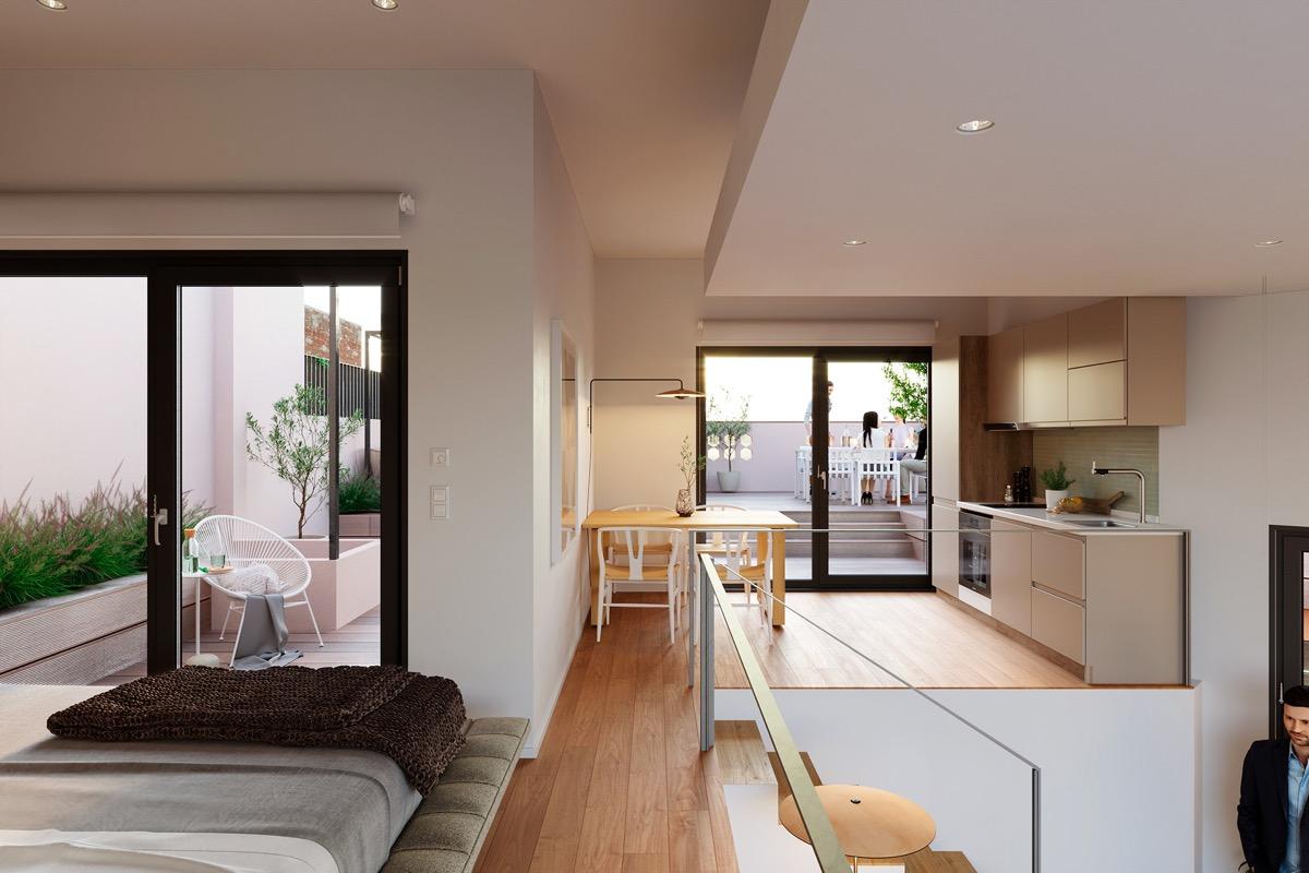 hình ảnh toàn cảnh phòng ngủ, bếp và phòng ăn phong cách mở liên thông, cửa kính mở ra sân thượng thoáng sáng