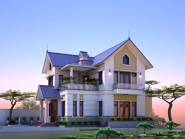 hình ảnh phối cảnh mặt tiền biệt thự 2 tầng mái Thái