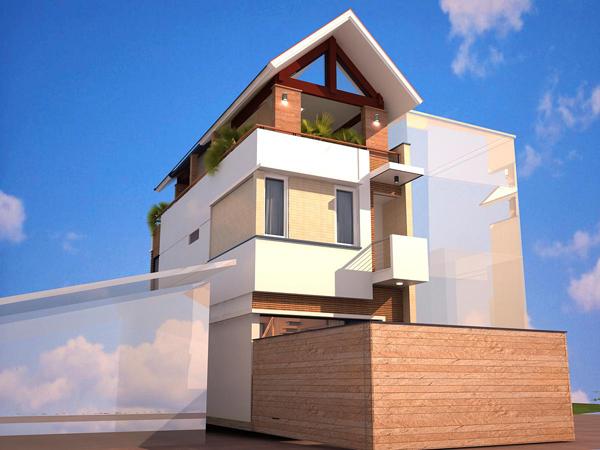 hình ảnh phối cảnh mặt sau nhà lô 3 tầng góc 1