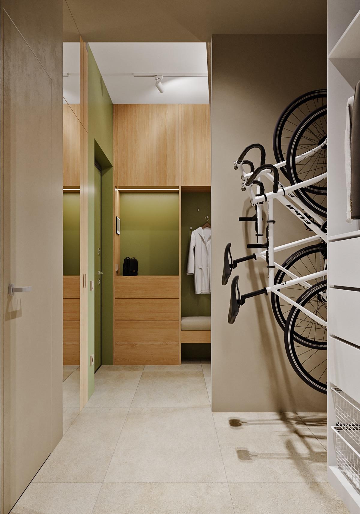 hình ảnh xe đạp trong căn hộ nhỏ