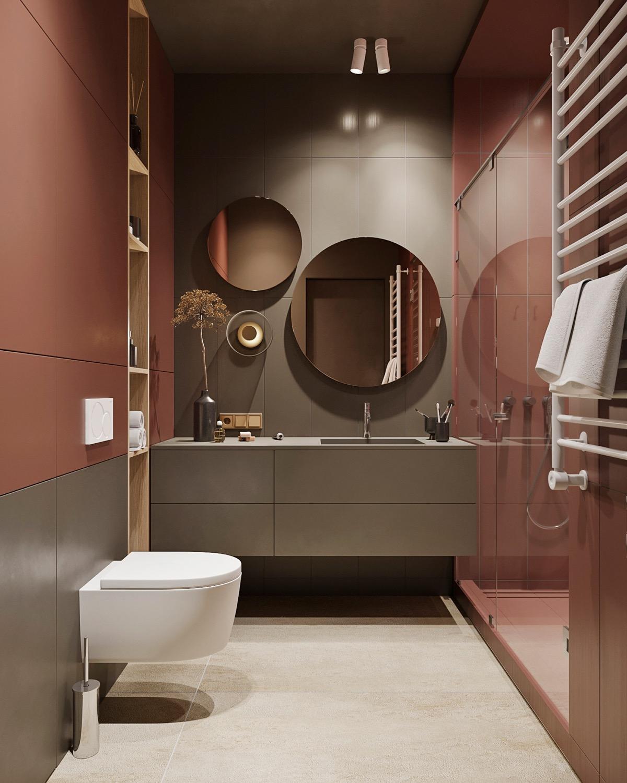 hình ảnh phòng tắm ấn tượng trong căn hộ nhỏ với bộ đôi gương gắn tường, đèn LED, vách tắm kính