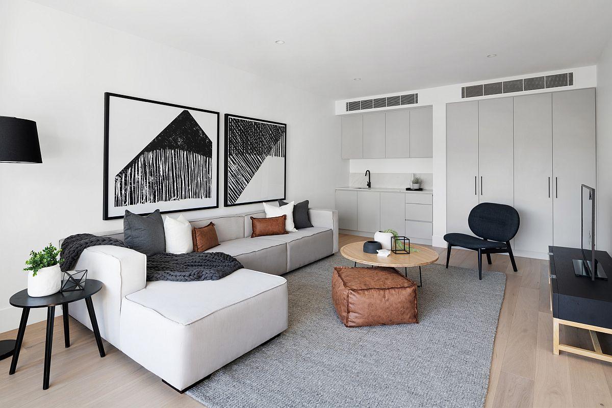 hình ảnh toàn cảnh phòng khách màu đen trắng cổ điển