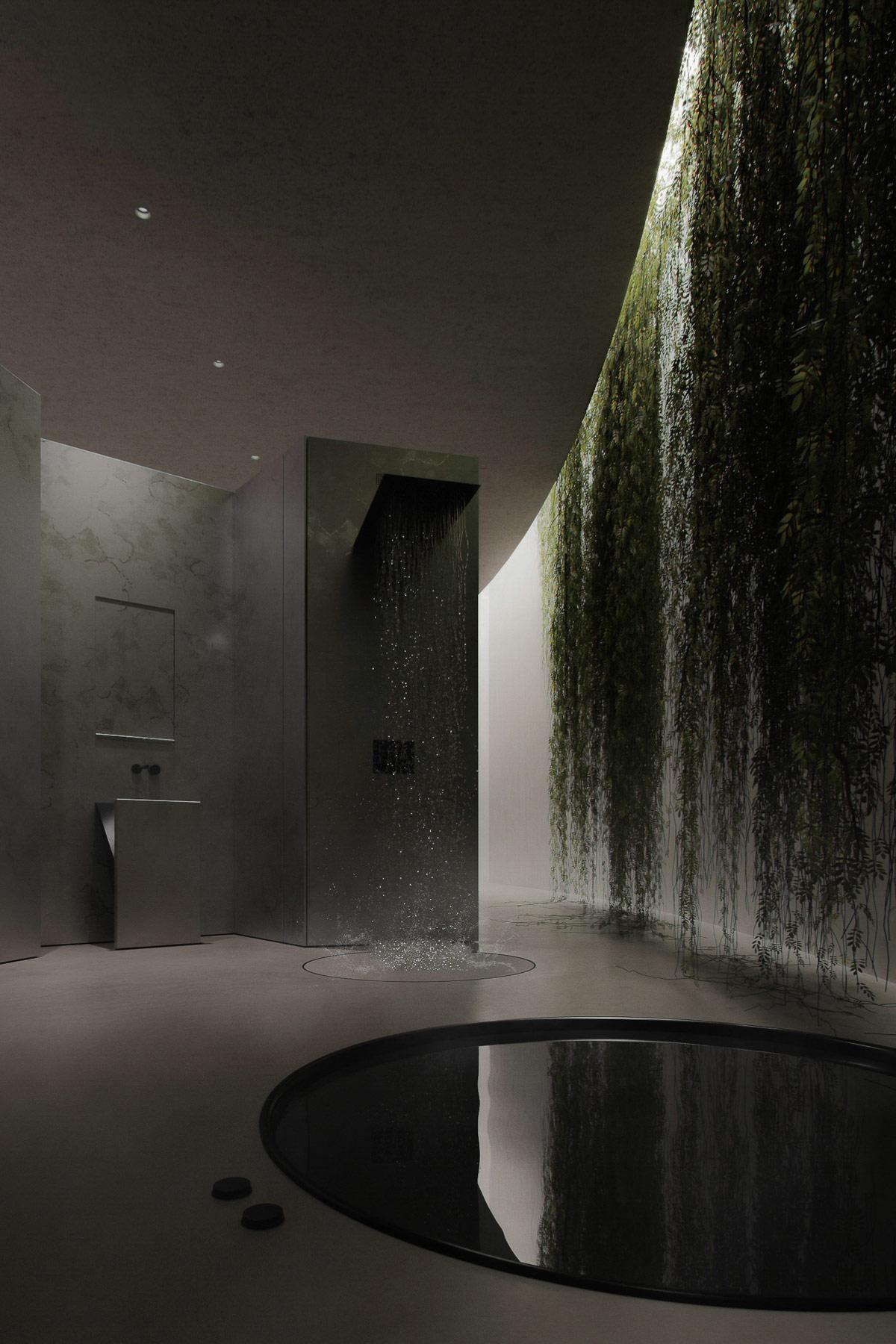 hình ảnh phòng tắm riêng trong phòng ngủ nổi bật với vòi sen lạ mắt