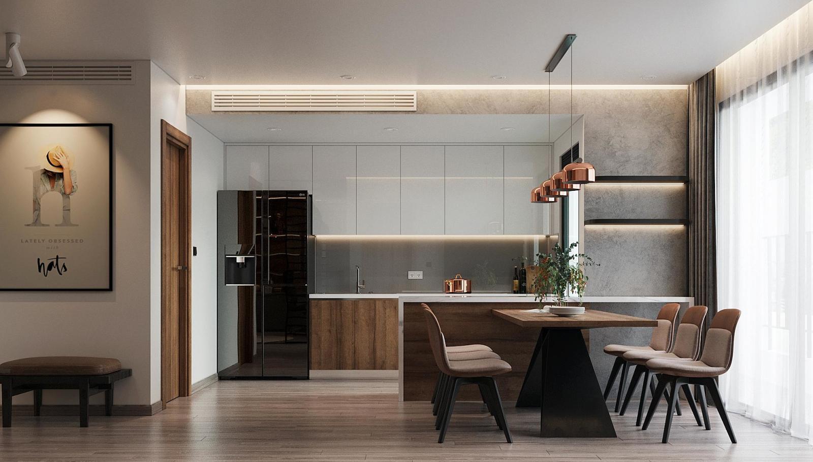 hình ảnh phòng bếp kết hợp phòng ăn trong căn hộ của youtuber Lê Hoàng Nam