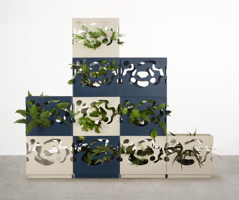 hình ảnh mẫu chậu trồng cây xếp chồng lên nhau, lá cây đâm tua tủa qua các khe hở