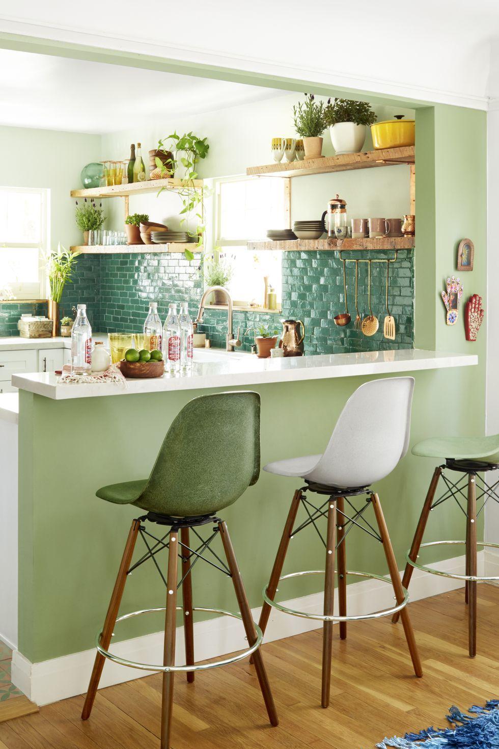 hình ảnh phòng bếp màu xanh lá cây dịu mát