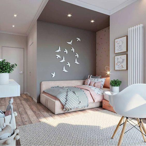 hình ảnh phòng ngủ tuổi teen màu hồng xám
