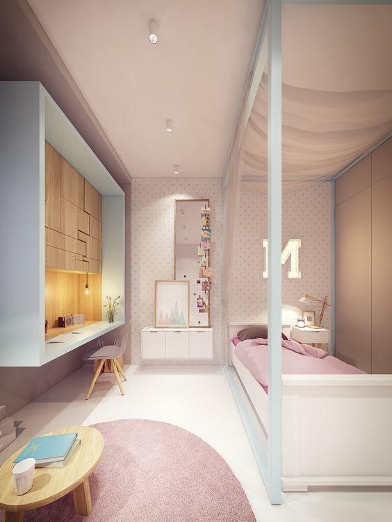 hình ảnh mẫu thiết kế phòng ngủ con gái màu hồng - trắng hài hòa