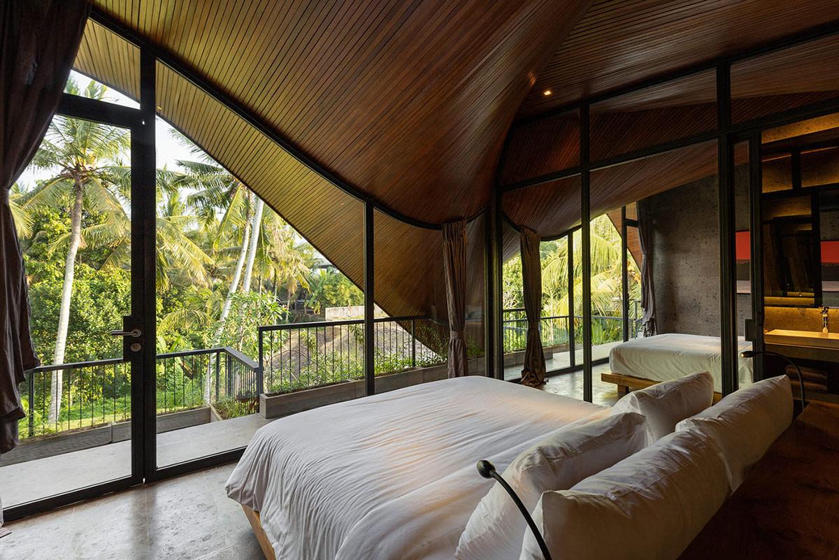 hình ảnh phòng ngủ có tường kính trong suốt