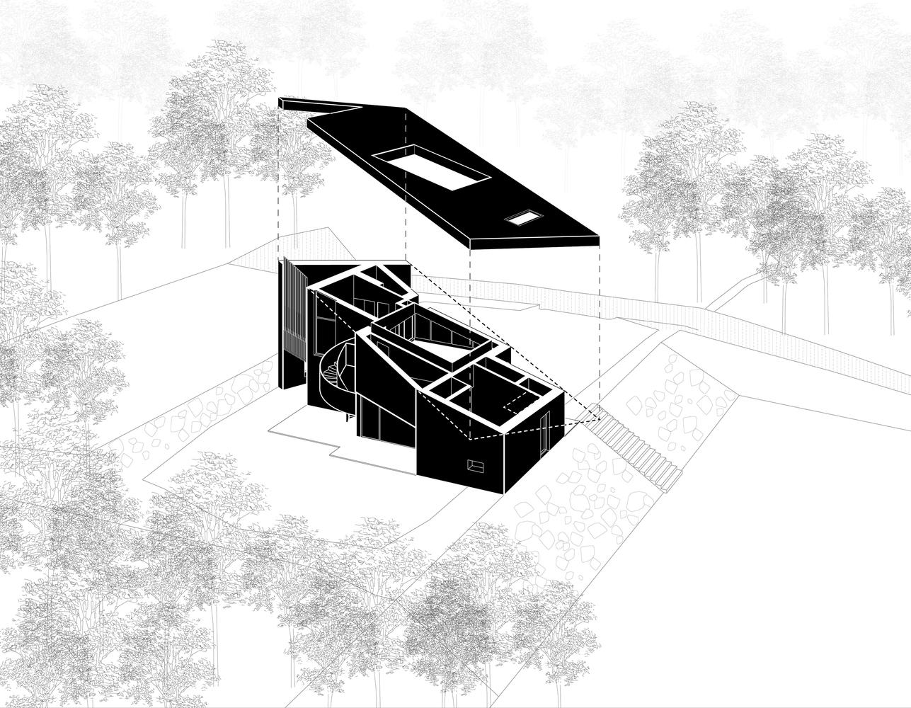 hình ảnh phối cảnh kiến trúc nhà mái dốc
