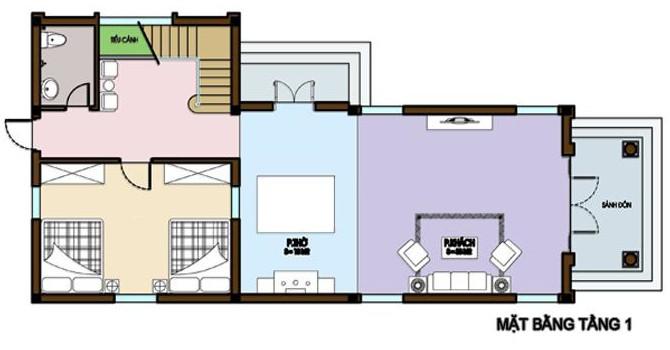 hình ảnh mặt bằng bố trí nội thất tầng 1 nhà vườn