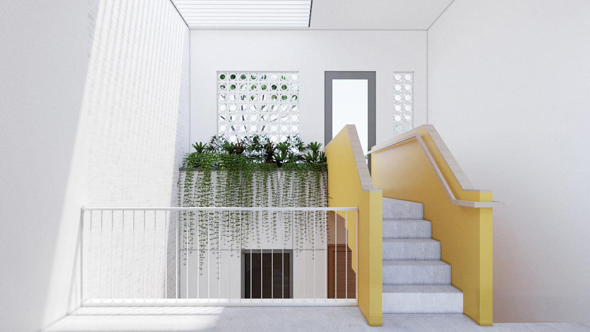 hình ảnh cầu thang ngắn với tường sơn màu vàng chanh