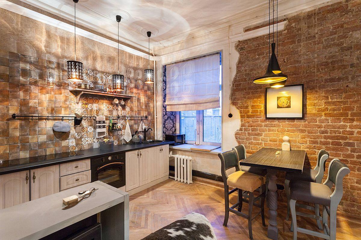 hình ảnh phòng bếp phong cách chiết trung - công nghiệp hiện đại tông màu vàng đồng rực rỡ