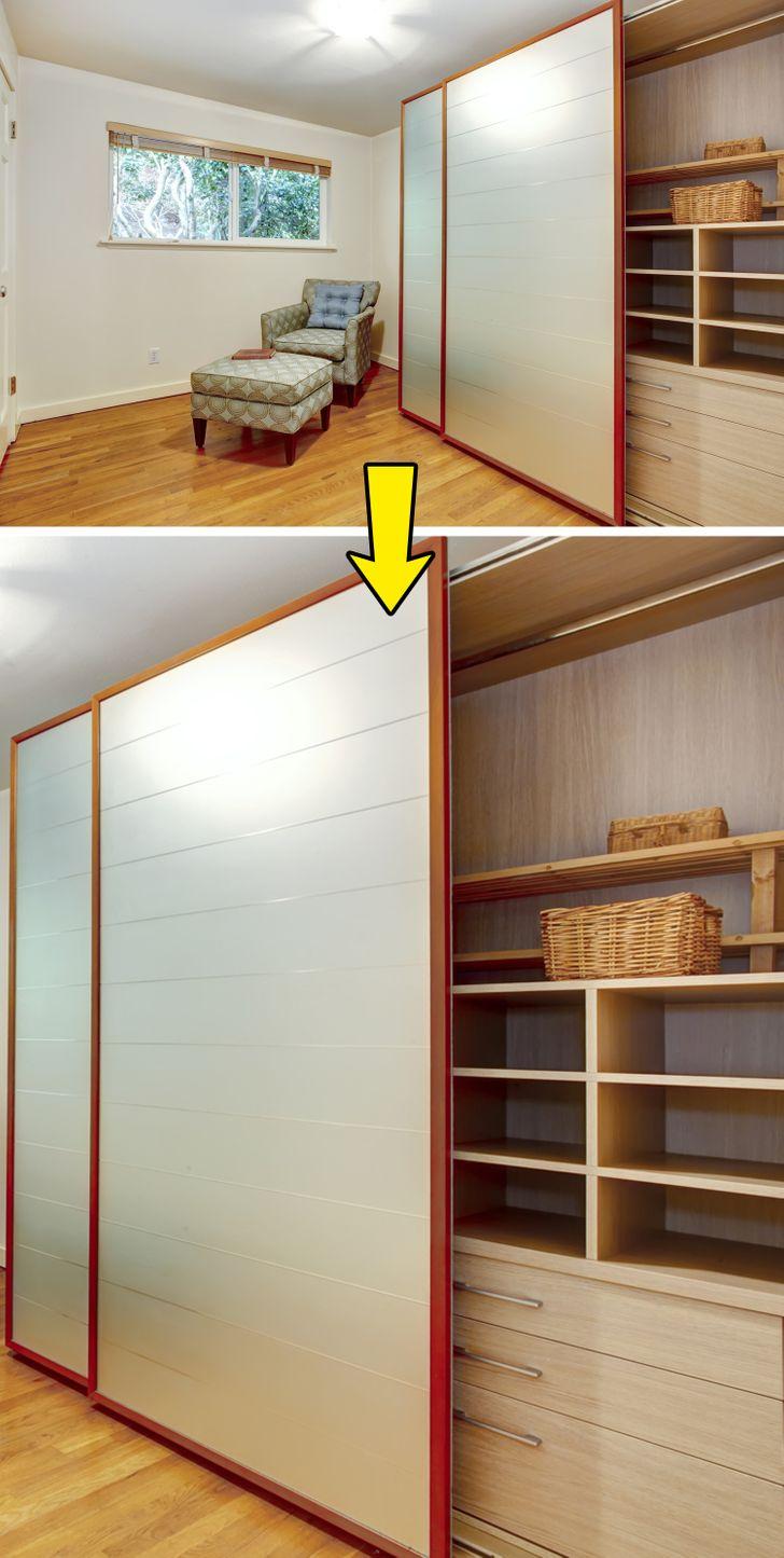 hình ảnh nội thất tích hợp trong nhà nhỏ với khung cửa trượt che giấu giá kệ, ngăn kéo lưu trữ bên trong